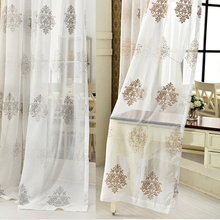 byetee Simple white modern bedroom livingroom tulle curtain window gauze material embroidered curtain fabric