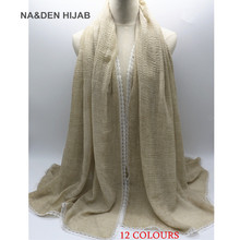 2017 Hot sale bubble plain solid soft foulard Muslim hijab women scarf white lace borders luxury bandana wraps shawls 10pcs/lot(China)
