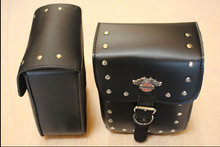 New 2PCS Black Prince's Car Motorcycle Cruiser Side Box Tool Bag Leather&Saddle Bags Tail Bags Top Cases