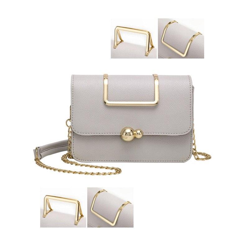 Magical Metal Handle Fashion Women Handbags Genuine Leather Chains Belt Ladies New Large Capacity Bolsas Female Messenger Bag <br>