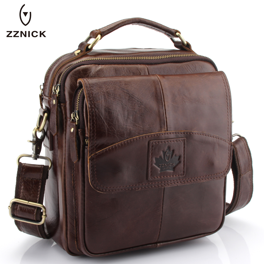 ZZNICK Mens 100% Genuine Cowhide Leather Shoulder Bag,Quality Men Messenger Bags Causal Crossbody Handbag For Men Briecase Bags<br>