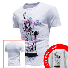 Hot Sale Men's Tops Shirt Encounter Sun Change Color Short Sleeve Casual T-Shirt 2017 New Design Plus Size White Clothing May 23