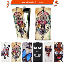 High quality fashion cartoon pattern flip up and down leather case for VKworld G1 Giant,Free gift