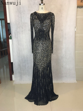 vestido de festa High neck Black Mermaid Evening dress with long Sleeve Sl Backless Beadings And Crystals long Prom Dress(China)