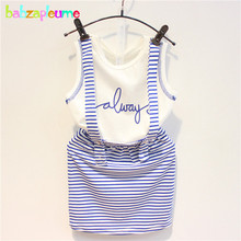 babzapleume 2017 New Summer Kids Clothes Baby Girls Set Letter Sleeveless T-shirt+Stripe Skirt Korean Clothing Store 2PCS BC1360