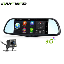 7 inch Touch DVR Detector Car Dual Lens 3G Car Rear View Mirror DVR Q6 Android 5.0 Wifi Bluetooth GPS Tracker with Two Camera(China)