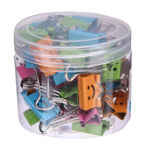 40Pcs 19mm Smile Cute Binder Clips For Home Office Books File Paper Organizer School Supplies Student Stationery