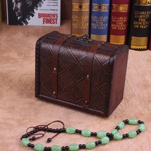 Wholesale flat square vintage jewelry box wooden jewelry box small European-style box storage box factory direct