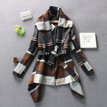 2016 autumn and winter new slim XL XXL women Lapel Plaid wool cloak trench coat coffee color runway coat(China)