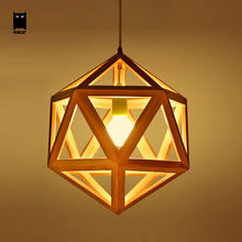 Oak Wood Diamond Cage Pendant Light Fixture Modern Nordic Hanging Lamp Lustre Avize Luminaria for Indoor Home Dinning Table Room(China)