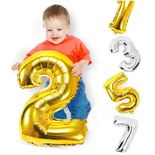 32inch Gold Silver Number Balloon Aluminum Foil Helium Balloons Happy Birthday Valentines Day Wedding Party Supplies Decoration