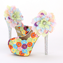 Multicolour lace flowers round toe shallow mouth platform bride shoes high heels diamond pumps women's hot sale wedding shoes