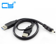 USB 3.0 Male to Mini USB 3.0 Y Cable With Extra USB 2.0 Power Mini usb Cables For Mobile hard disk 60CM
