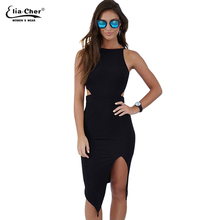 Women Bodycon Cut Out Dress 2017 Summer Dress Eliacher Brand Plus Size Causal Clothing Sexy Black Sleeveless Evening Party Dress(China)