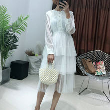 Elegant Women Summer Long Sleeve Lace Flower Ball Gown Dresses Patchwork  Gauze Mesh Slim Waist Embroidery 5403ad0c3d1d