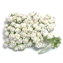 Free shipping 144PCS/LOT white Mulberry Paper Flower Bouquet/wire stem/ Scrapbooking artificial rose flowers