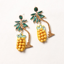 Charm Sexy Green Crystal Coconut Trees Watermelon Pineapple Long Earrings Beach Holiday Party Fashion Jewelry Earings For Women
