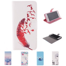 Red Feather pattern Faux Leather Flip Case with Mount Stand for iPhone 6 Plus 6S Plus(China)