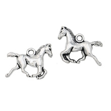 10pcs Antique Silver Plated Running Horse Charms Pendants For Jewelry Making Diy Craft Charm Handmade 15x20mm