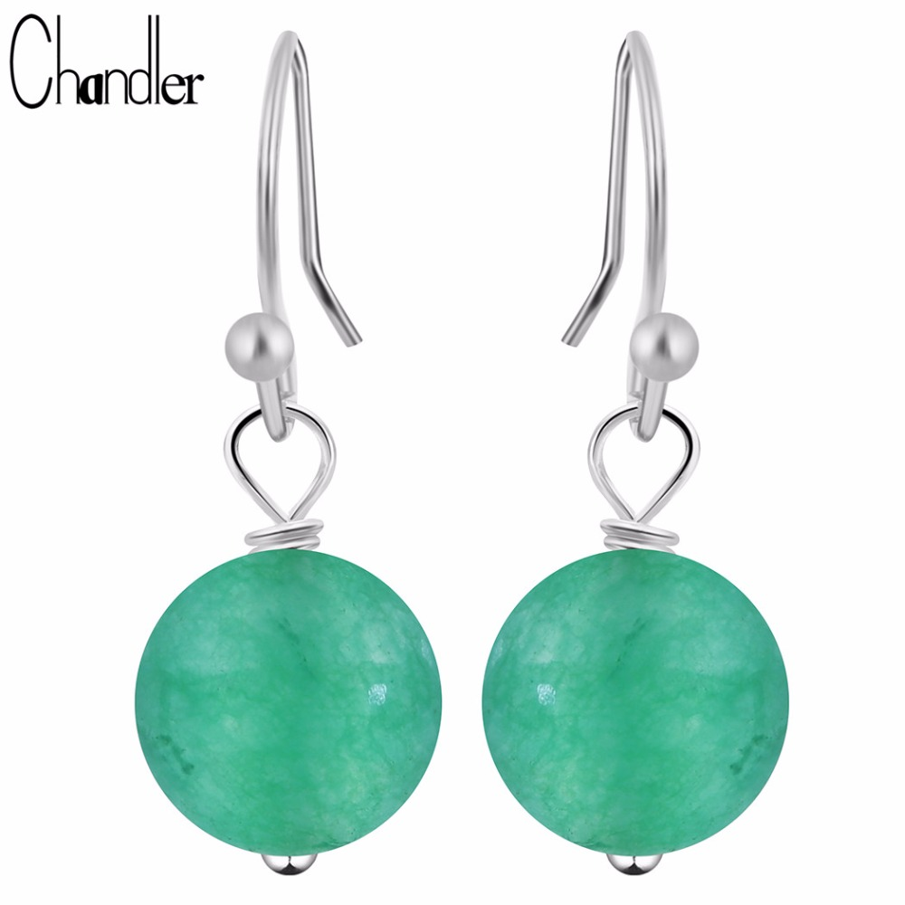 Chandler Round Red Green Loose Stone Bead Dangling Earring Piercing Chalcedony Vintage India Jewelry Bohemia Statement Pendiente