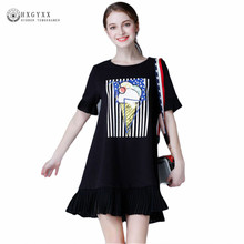 5XL Woman Summer Plus Size Casual Dress Ruffles Sleeve Ice Cream Printed Mini Club Dress A-line Ruffles Hem T-shirt Dress OK124