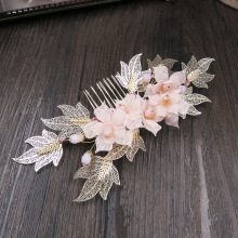 Dower me Pink Bridal Flower Hair Comb Accessories Gold Leaf Wedding Hair Piece Jewelry Women Crown Headpiece