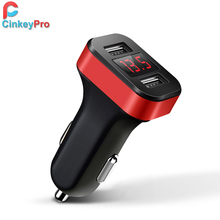 CinkeyPro Car Charger For iPhone Samsung Charging LED Screen 2-Ports USB Charger 2.1A Car-Charger Mobile Phone Universal