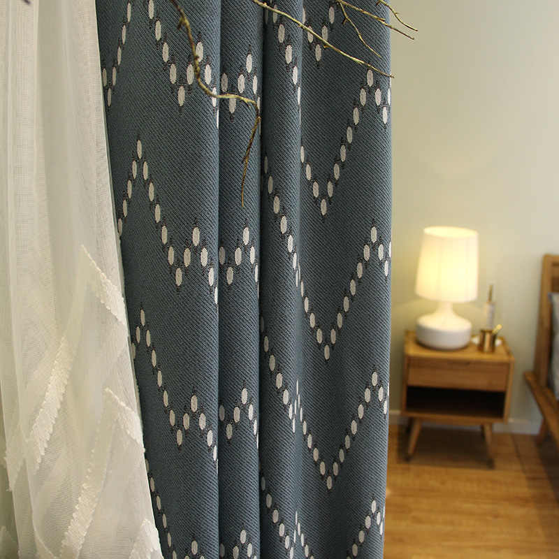custom  curtain jacquard Nordic retro shading cotton geometric bedroom livingroom windows blackout curtain drape tulle M197