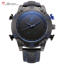 Kitefin Shark Sport Watch Black Blue Stainless Steel Case LED Analog Quartz Auto Date Day Leather Strap Mens Army Watches /SH232