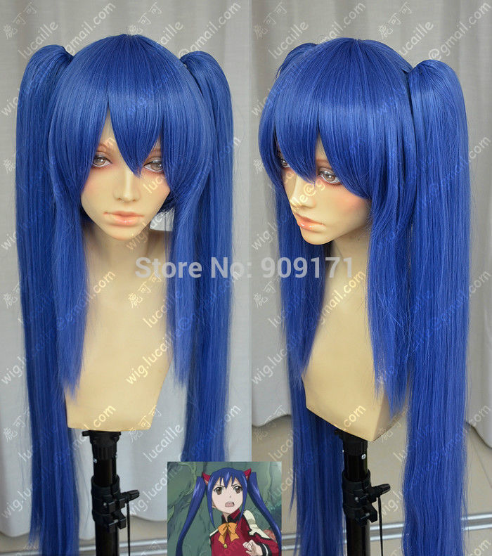 FREE SHIPPING&gt;****^^ fast Shipping **Fairy Tail Wendy Marvell Dark Blue Double Ponytail Cosplay Wig<br><br>Aliexpress
