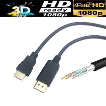 10PCS/lot Displayport to HDMI HDTV cable 6ft 1.8M for HP Dell Lenovo Asus PC laptop male to male