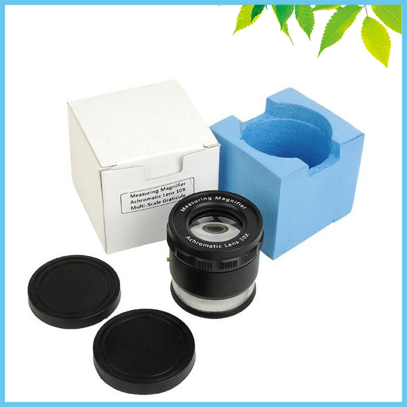 8 LED Lights Illuminated Adjustable Cylinder Loupe 10X Magnifier with Scale Printing Measuring Microscope<br>