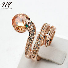 Top Quality R149  Snake Show Bead Ring Rose Gold Color Austrian Orange Crystals Full Sizes Wholesale