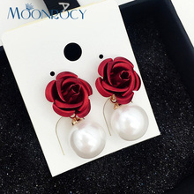MOONROCY Free Shipping Fashion Jewelry Rose Gold Color Earrings Imitation Pearl earrings Red rose Gift For Women Jewelry gift