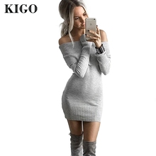 Buy KIGO 2016 Autumn Winter Shoulder Women Sweater Dress Long Sleeve Bodycon Dress Sexy Knitted Sweater Dress Bandage KZ0764H for $15.99 in AliExpress store