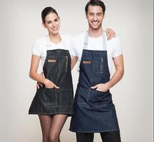 Hot selling Kitchen grease-proof jeans apron 30055 men draw restaurant coffee shop apron qy141