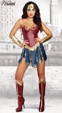 S-XL New Wonder Woman Costume Super Girl Halloween Cosplay Diana Prince Fancy Dress +Headwear+ Wrist band