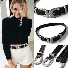 Fashion Women Lady Vintage Boho Metal Leather Double Buckle Waist Belt Waistband