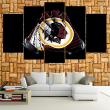 5 Panel Washington Redskins Logo Boys Room Deco Painting On Canvas Modern Home Prints Liveing Room Deco Wall Art Decorate Poster