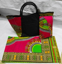Coral red ankara dashiki fabric match quilted canvas fabric tote bag and clutch for african party (Oct-6-2016)