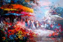 Wall art Flower market by Willem Haenraets decorative paintings Handmade High quality(China)