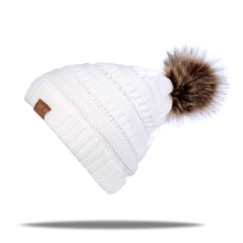 JTVOVO brand cap Hot sale CC lable knitted beanie cap with thicker cashmere warm winter hats for women outdoor pom pop ski caps(China)
