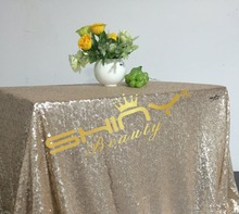 On Sale 50''*50'' Champagne Sequin Tablecloths, Champagne Color, Cheap Price Cake Tablecloth, Cocktail For Wedding Decor(China)