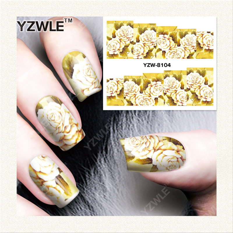 YZWLE 1 Sheet DIY Decals Nails Art Water Transfer Printing Stickers Accessories For Manicure Salon  YZW-8104<br><br>Aliexpress