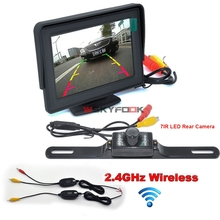 "Car Styling 2 Ways Video Input 4.3"" TFT LCD Monitor+7IR LED Wireless Car License Plate Reverse Camera  Parking Kit"