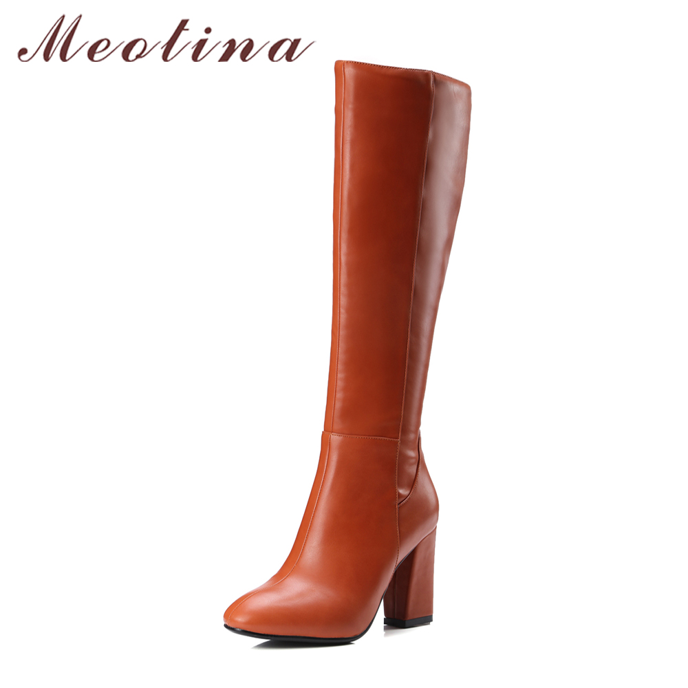 Meotina Boots Women Knee High High Boots Winter High Heel Boots Round Roe Zip Block Heels Shoes Female Black Large Size 42 43<br>