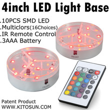 KITOSUN Electric Light Stand Base Display 4inch 9pcs SMD5050 LEDs RGB Color Changing Under Vase Light with Remote Controller