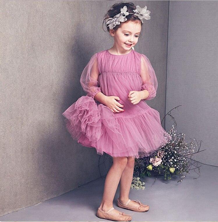 2017 Fashion kids purple three quarter sleeve dress high quality summer pastoral princess party clothes nice girls dress 16A12<br><br>Aliexpress