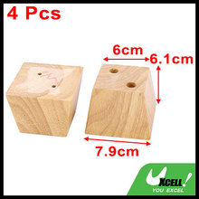 Hotel Wooden Furniture Cabinet Chair Couch Sofa Legs Feet Replacement Wood Color 4pcs(China)