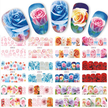 12 Designs/Sets Water Transfer Beautiful Rose Decals Full Decals Nail Sticker Mixed Colorful Flower Nail Art DIY Decor BN553-564(China)